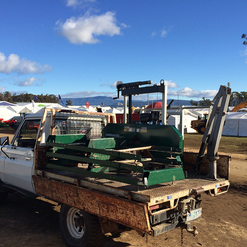 Ute loaded up with sawmill