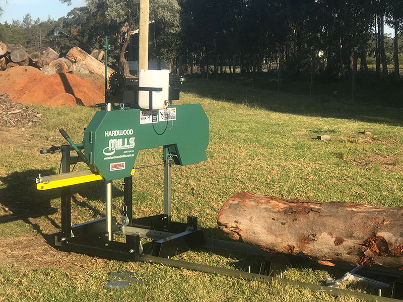 GT 26 Portable sawmill timber about to be cut